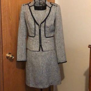 WHBM Mod Tweed Gray Suit Set Dress Jacket Blazer
